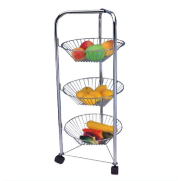 Three layer vegetable net storage cart with wheels