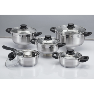 Stainless steel 10-piece cookwares with glass cover