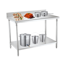 Two Layer Stainless Steel With Backplash Work Table