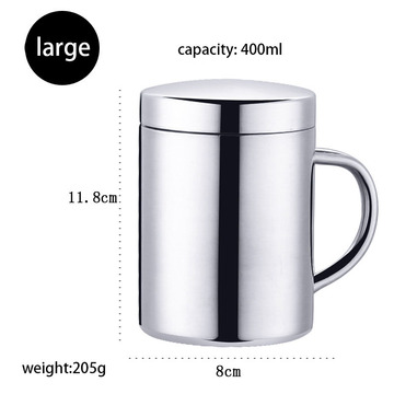 Customized Silver 304 Stainless Mug With Lid
