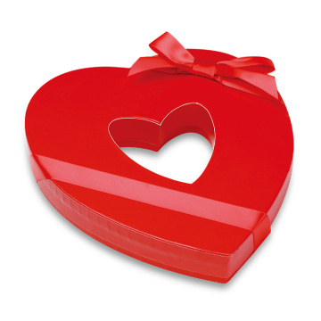 Red Chocolate Gift Heart Paper Box with Ribbon