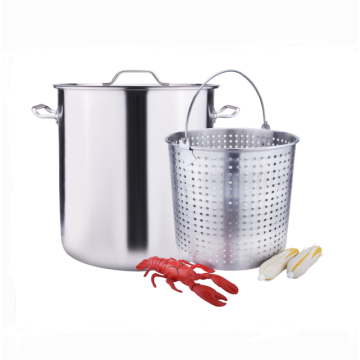 Stainless steel stockpot with boil basket for seafood