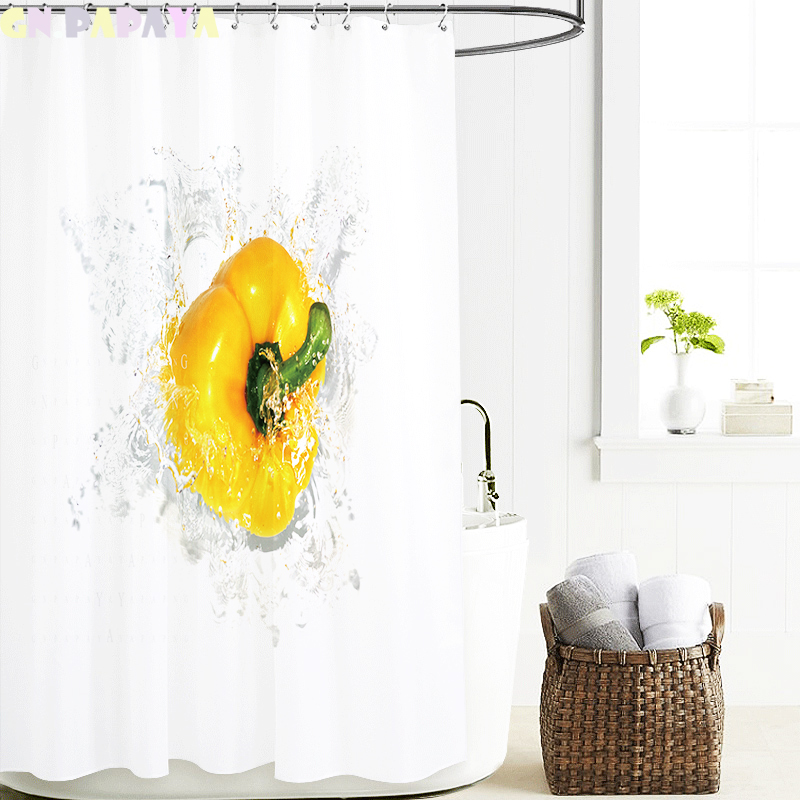 Yellow pepper Curtains Waterproof white bathroom Polyester cute kid's' fashion fresh style Shower Curtains Screen with Hooks new