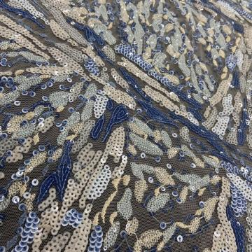 Blues Geometry Multicolor Sequin Embroidery Fabric