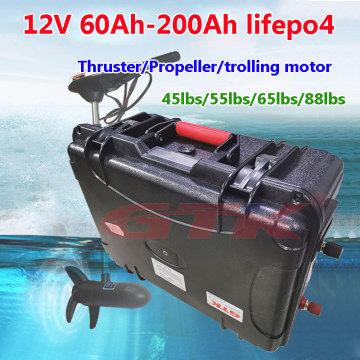 Waterproof Lifepo4 12V 60Ah 80Ah 100Ah 120Ah 150Ah 200Ah lithium battery for 18lbs-88lbs Thruster trolling motor+ 10A charger