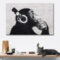 YaMinSanNiO Abstract Monkey DJ Orangutan Wall Art HD Prints and Posters Canvas Animal Oil Painting Pictures Home Decorations New