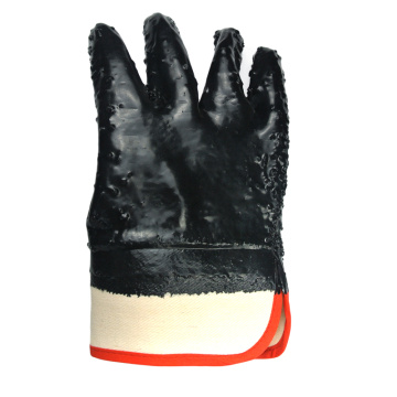 Black PVC coated gloves Kevlar linning