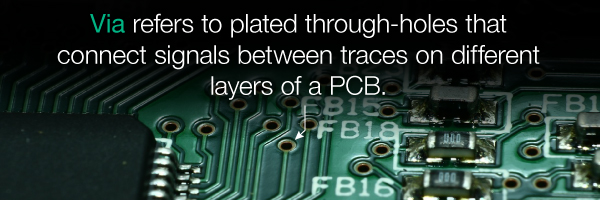 Via: connect signals between traces on different layers of a PCB