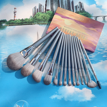 premium goat hair makeup brush silver handle