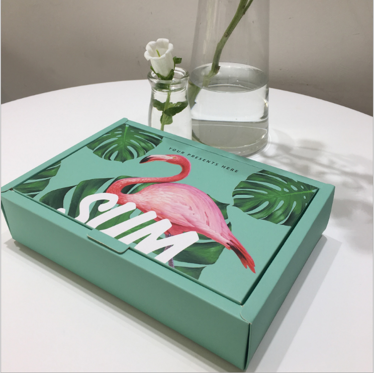 Green flamingo pattern bakery boxes wholesale