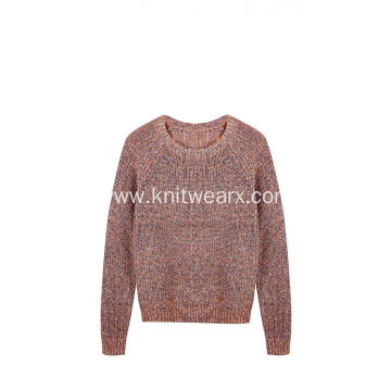 Women's Knitted Fancy Crew-Neck Chunky Pullover