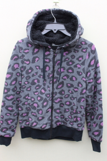 100% polyester knitted all over print ladies Keep warm jacket