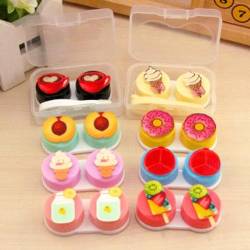 Cartoon Cake Ice Cream Shape Contact Lens Case Box Set Container Holder Fashion Travel Contact Lenses Box Eyewear Soak Case