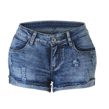 2020 Elastic Roll Edge Hot Pants Ripped Denim Shorts Women Jeans
