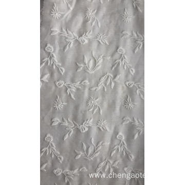 White Leaves Chiffon Embroider Fabric