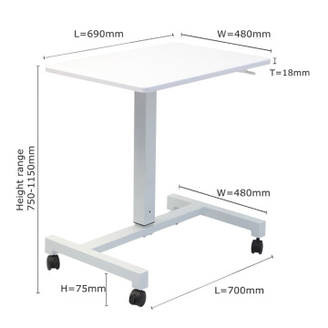 Pneumatic Height Adjustable Movable Laptop Desk