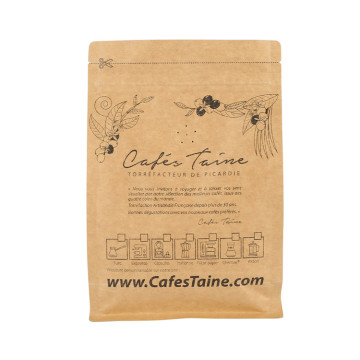 Gravure Printing Colorful Flat Bottom Ziplock Kraft Paper Coffee Bag