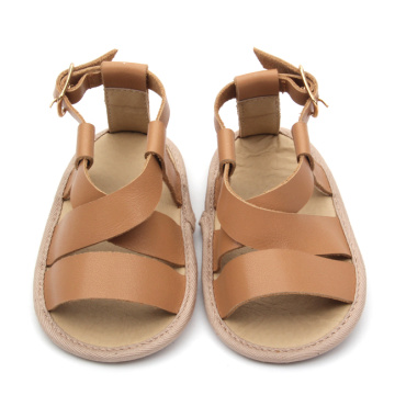 Brown Baby Cow Leather Soft Crib Shoes