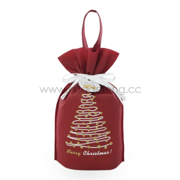 Red Non-woven Christmas Tree Handle Drawstring Gift Bags