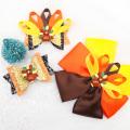 Thanksgiving Day 3'' Glitter Hair Bows for Girls Lovely Cartoon Turkey Hairpin Ribbon Bowknot Hair Clips Girls Hair Accessories