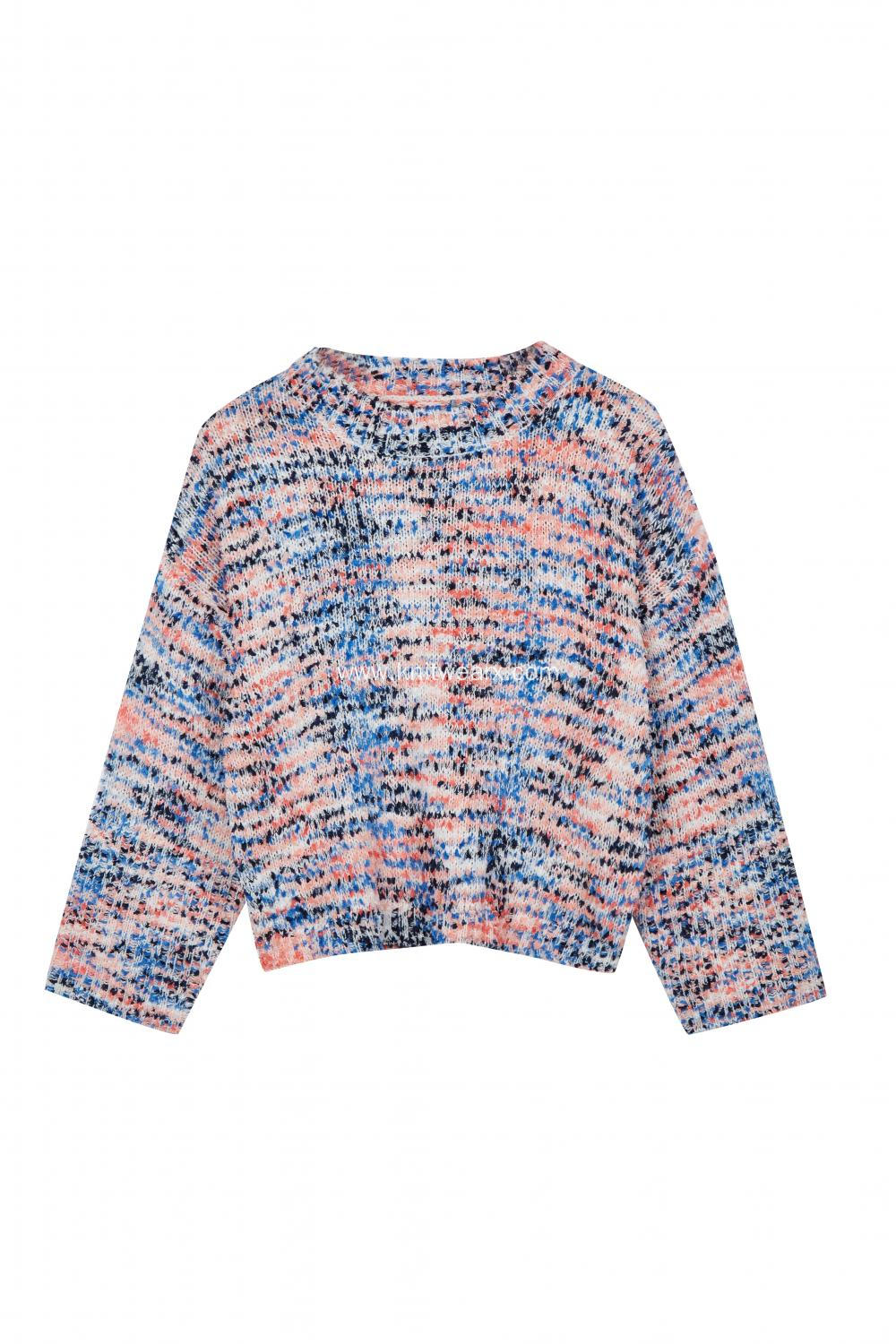 Women's Knitted Colorful Neps Batwing Crew-Neck Pullover