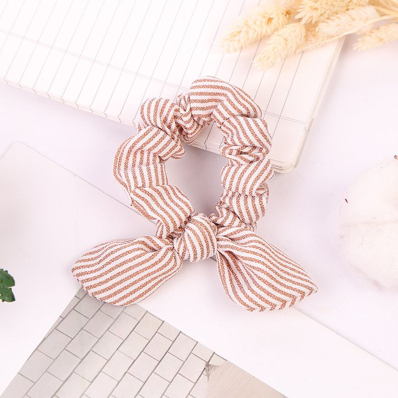 Women Striped Hair Ring Rope Bow knot Scrunchies Ponytail Holder Tie Girl Hairbands Elastic Hair Bands Hair Accessories