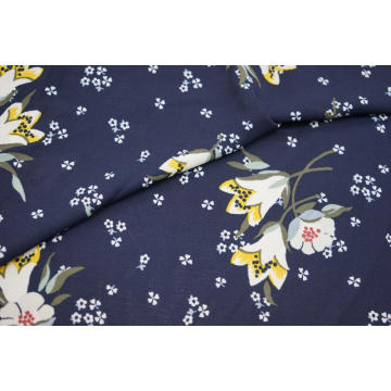 100% Polyester Lily Pattern Moss Crepe Print Fabric