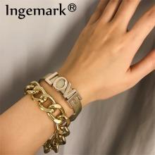Ingemark 2Pcs/Set Punk Lover Letter Bracelet Bangles Women Fashion Aluminum Thick Chain Link Men's Bracelets Couple Jewelry 2019