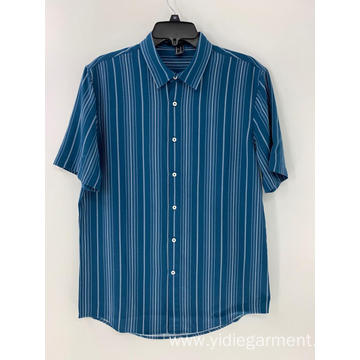 Men's Blue and White Striped Shirt Button Down