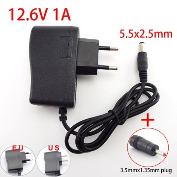 18650 Lithium Battery Charger Power Supply AC 100-240V to DC 12.6V 1A 5.5*2.5mm Plug 3.5*1.35mm Adapter