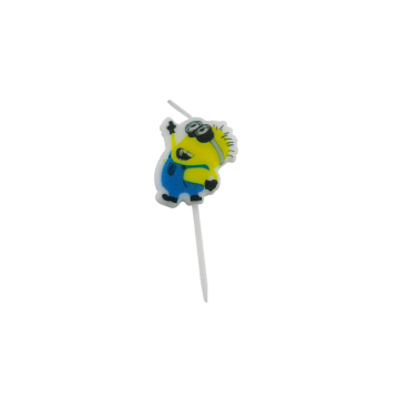Cartoon little yellow man decorating birthday candle
