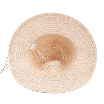 Floppy beach straw bucket hat for cute bowtie