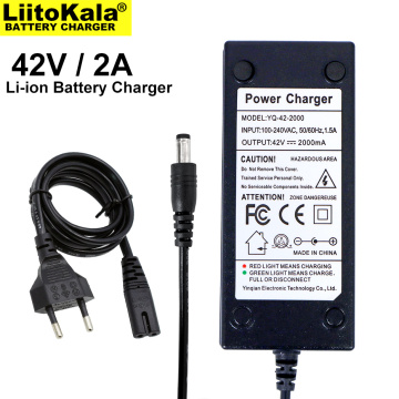 1-20PCS Liitokala 36V battery charger output 42V 2A charger input 100-240VAC lithium ion charger for 10S 36V electric bicycle
