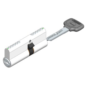 Telescopic pin cylinder lock double sided