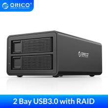 ORICO Dual bay 3.5'' HDD Docking Station USB3.0 to SATA With RAID HDD Aluminum HDD Enclosure 48W External Power Adapter HDD Case