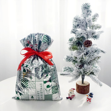 Green Cartoon Pattern CPP Plastic Christmas Gift Bag