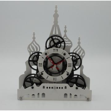 Red Square Gear Clock on Table