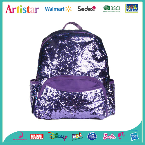 purple color sequins backpack