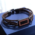 Custom simple mens black leather bracelet