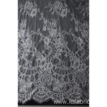 100% Nylon White Panel Lace Fabric
