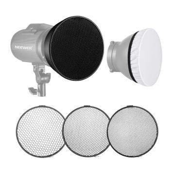 Neewer Standard Reflector 7 inches/18 centimeters Soft Diffuser + 20/40/60 Degree Honeycomb Grid for Bowens Mount Studio Flash