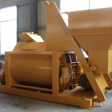 Twin shaft stationary 1 cubic yard concrete mixer