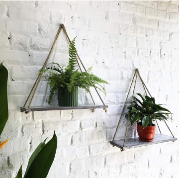 Distressed white Wood Hanging Swing Rope Floating Shelves