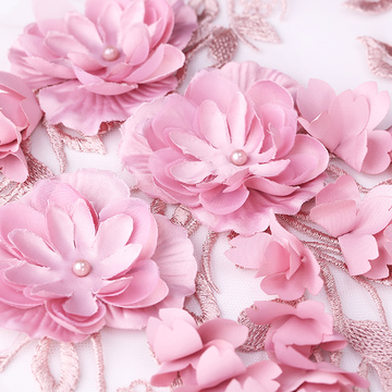 Indwangu ye-Pink 3D Flower Lace Embroidery
