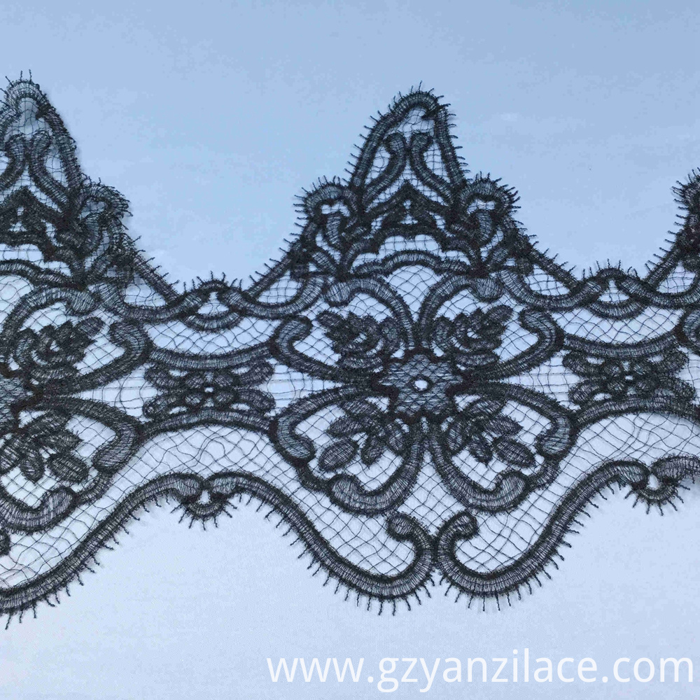 Black Vintage Crochet Guipure Lace Trim