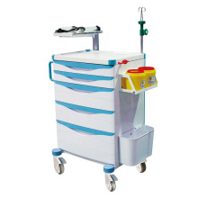 Hospital Adjustable Defibrillator Shelf Emergency Trolley