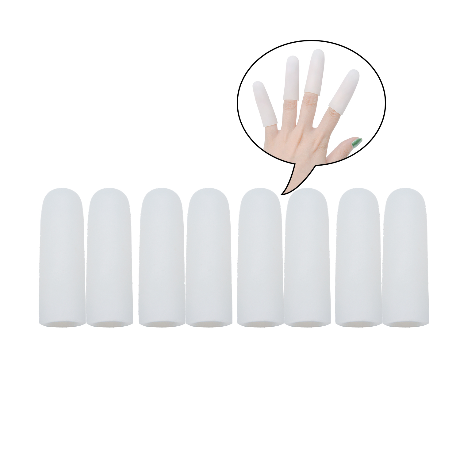 2Pcs White Fingers Protector Silicone Gel Tube Little Toe Corn Blister Protect Sleeve Cover Toe Separators Hand Foot Care Tool