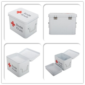 Home First Aid Box Red White Metal Iron