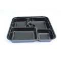 5 compartments black PS Sushi tray bento Box