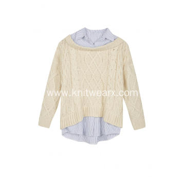 Women's Knitted Woven Collar&Hem Cable Crew-Neck Pullover
